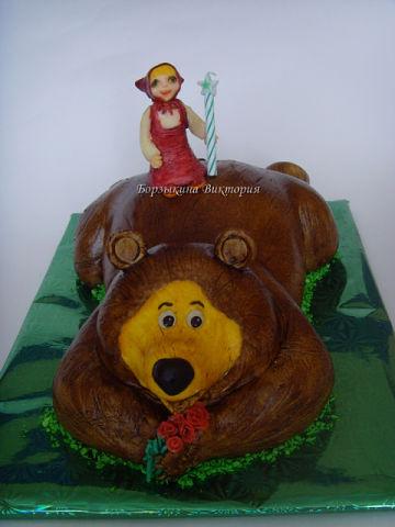 Торт в виде медведя из маши и медведя фото
